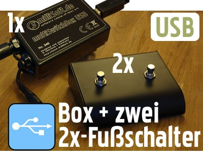 Set: USB Fussschalter-Adapter multiSwitchBox + 4x-Fußschalter